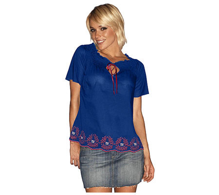 c3bbbc7ac NFL Touch By Alyssa Milano New York Giants Women s Peasant Top — QVC.com
