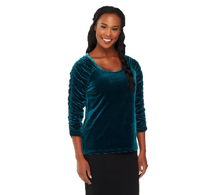 Susan Graver Stretch Velvet U-neck Top with Ruched 3/4 Sleeves