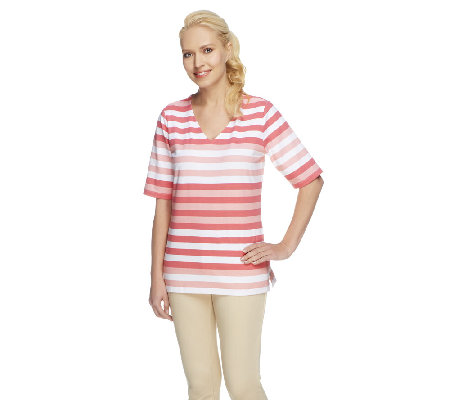 Denim & Co. Perfect Jersey Elbow Sleeve V-neck Striped Top