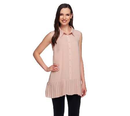 Styled by Joe Zee Button Front Tank Blouse w/ Pleated Hem