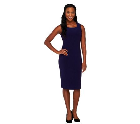 Joan Rivers Petite Luxe Knit Square Neck Sheath Dress