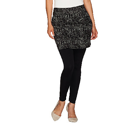 Legacy Ponte Knit Printed Ankle Length Skirted Leggings