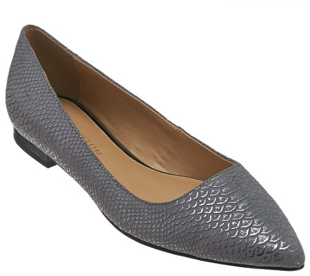 H by Halston Metallic Embossed Python Pointed-toe Flats - Lucille