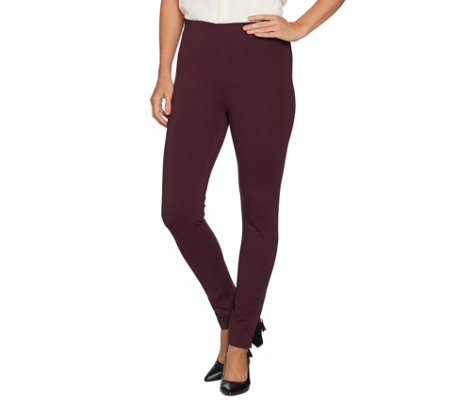 Kelly by Clinton Kelly Petite Pull-On Straight Leg Ponte Pants