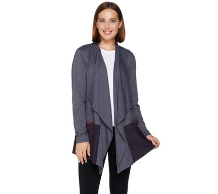 LOGO Lounge by Lori Goldstein French Terry Cardigan with Faux Suede Hem