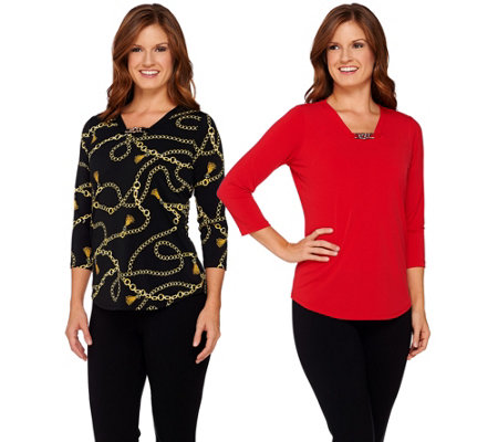 As Is Susan Graver Printed Solid Liquid Knit S2 Tops W Chain