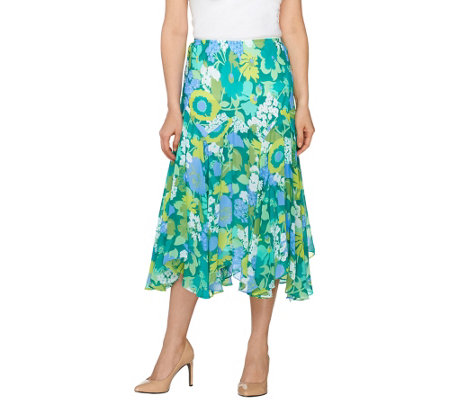 """As Is"" Bob Mackie's Fully Lined Floral Print Skirt"