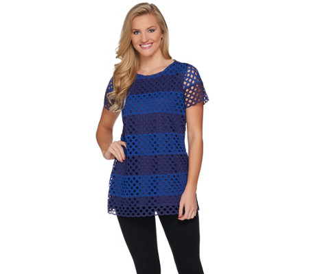 Isaac Mizrahi Live! Striped Lace Front Tunic with Knit Back