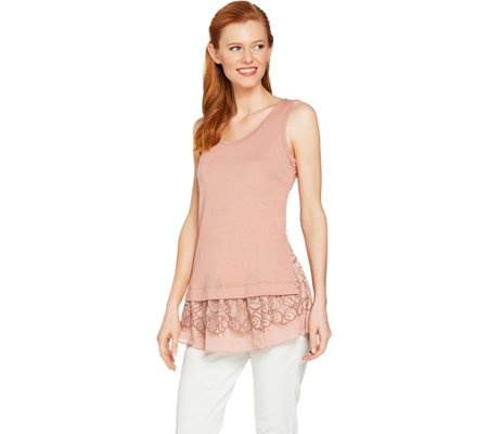 LOGO by Lori Goldstein Solid Tank with Two-Tone Lace & Ruffle Hem