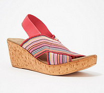 Charleston Shoe Co. Stretch Wedge Sandals - Med - A288527