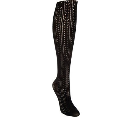 LOGO by Lori Goldstein Pointelle Knit Tights