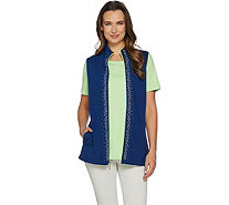 Quacker Factory Color Contrast Vest and Short Sleeve T-shirt Set - A290927