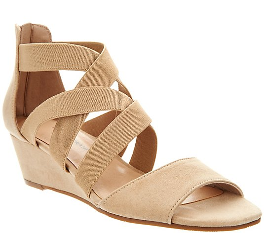 Isaac Mizrahi Live! Stretch Cross Band Wedge Sandal