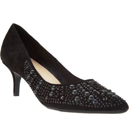 """As Is"" Isaac Mizrahi Live! Suede Pumps with Embellishments"