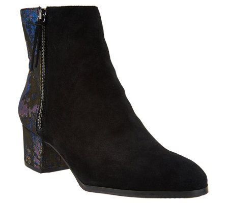 """As Is"" LOGO Lavish by Lori Goldstein Ankle Boots with Brocade Back"