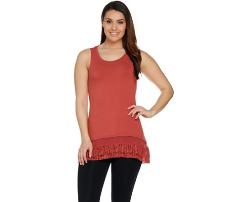 """As Is"" LOGO by Lori Goldstein Tank w/Lace & Swiss Dot Chiffon Hem"