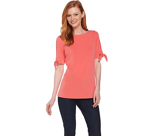 """As Is"" Susan Graver Liquid Knit Short Sleeve Top"