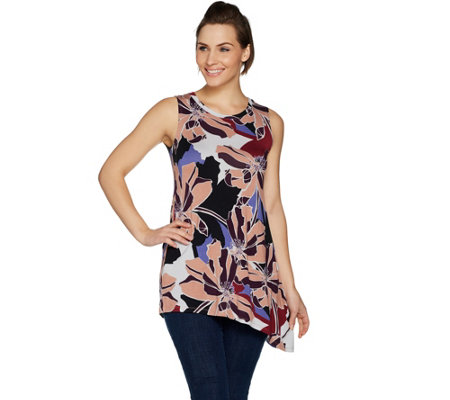 LOGO Layers by Lori Goldstein Printed Tank with Angled Hem