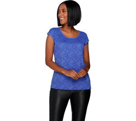 Susan Graver Modern Essentials Liquid Knit Top with Lace Front
