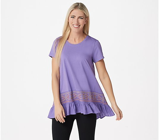 LOGO by Lori Goldstein Cotton Modal Embroidered Top w/ Ruffle Hem