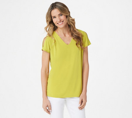 Susan Graver Liquid Knit Split-Sleeve Top