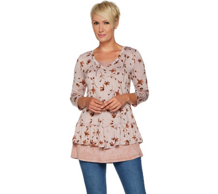 """As Is"" LOGO by Lori Goldstein 3/4 Sleeve Printed V-Neck Peplum Twin Set"