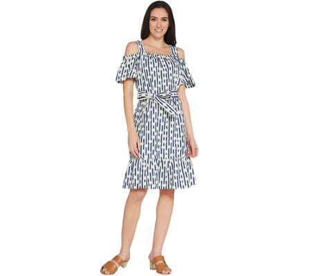 Isaac Mizrahi Live! TRUE DENIM Stripe & Dot Dress