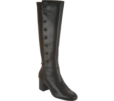 """As Is"" Isaac Mizrahi Live! Leather Studded Tall Boots w/ Block Heel"