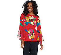 Susan Graver Printed Liquid Knit Top with Chiffon Bell Sleeves - A308227