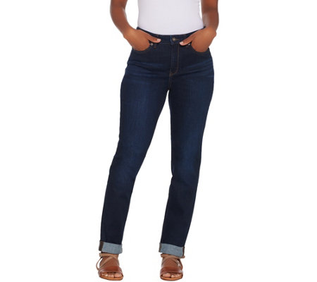 Denim & Co. Modern Denim 5-Pocket Cuffed Girlfriend Jeans