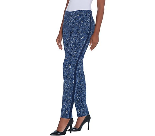 Dennis Basso Printed Stretch Woven Full Length Pants