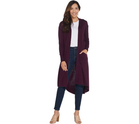 H by Halston Open Front Hi-Low Duster Cardigan with Pockets