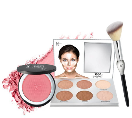 IT Cosmetics You Sculpted & Bye Bye Pores Blush w/ Brush Anti-Aging Trio