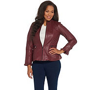 Isaac Mizrahi Live! Peplum Leather Jacket with Ruffle Sleeve - A344327