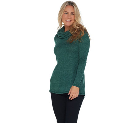 Isaac Mizrahi Live! SOHO Cowl Neck Long Sleeve Swing Knit Top