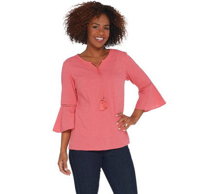 As Is Denim Co Crinkle Gauze Bell Sleeve Top With Dot Lace Detail