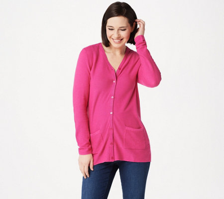 Joan Rivers Cardigan with Grosgrain Ribbon Detail