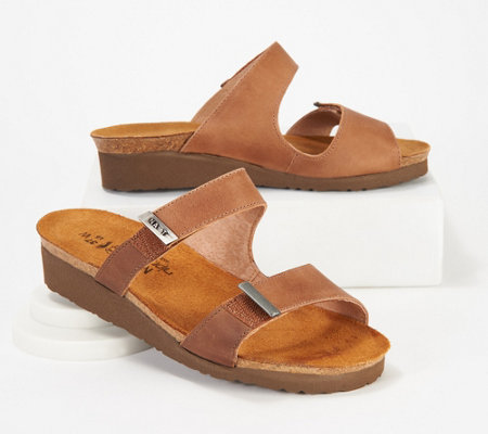 Naot Leather Slide Wedge Sandals