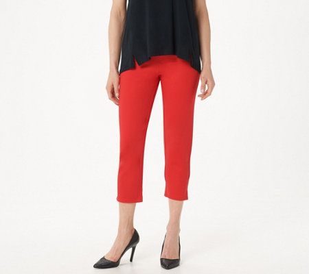 H by Halston Regular Ultra Knit Slim-Leg Crop Pants with Step Hem