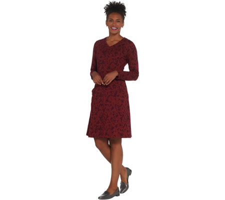 """As Is"" Denim & Co. Regular Printed Long- Sleeve V-Neck Fit/Flare Dress"