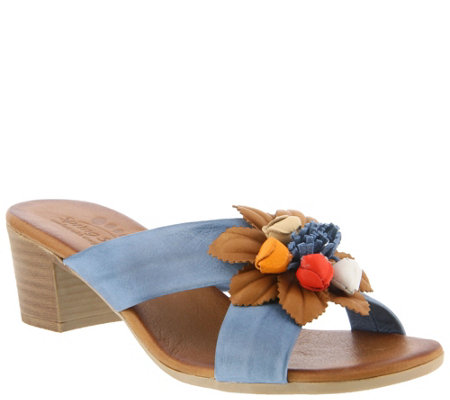 Spring Step Leather Slide Sandals - Bouquet