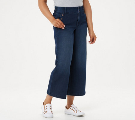 Isaac Mizrahi Live! Petite TRUE DENIM Wide-Leg Crop Jeans