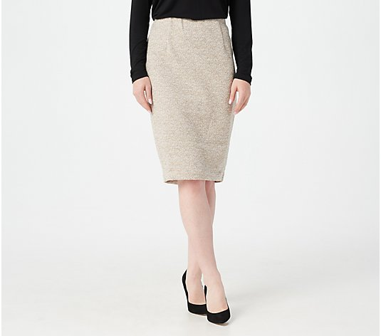 BROOKE SHIELDS Timeless Boucle Tweed Pencil Skirt