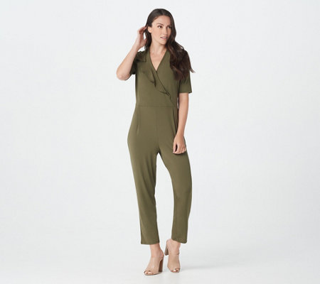H by Halston Petite Elbow Sleeve Jet Set Jersey Ankle Jumpsuit