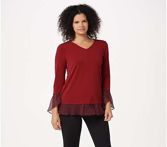 Susan Graver Textured Liquid Knit Tunic with Woven Accents