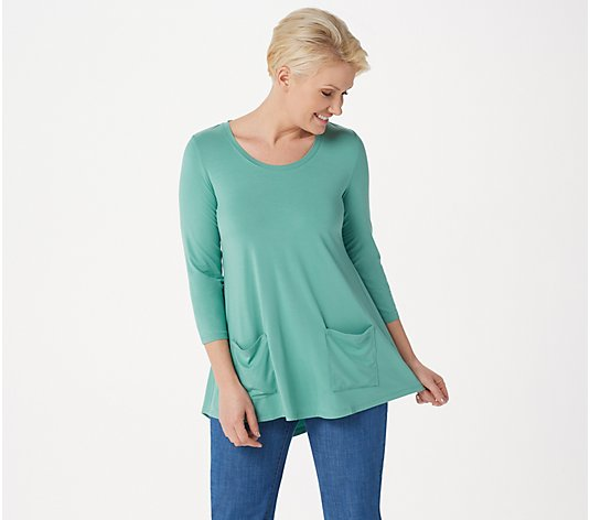 """As Is"" LOGO by Lori Goldstein Rayon 230 Top with Swing Hem"