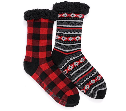 MUK LUKS Men's Jojoba Infused Cabin Socks Set of 2