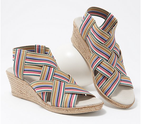 Charleston Shoe Co. Stretch Wedge Sandals - Ravanel