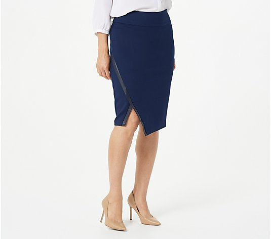 Susan Graver Ponte Knit Pull-On Skirt with Faux Leather Trim