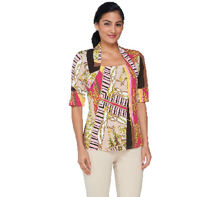 George Simonton Short Sleeve Status Print Top with Seaming Detail